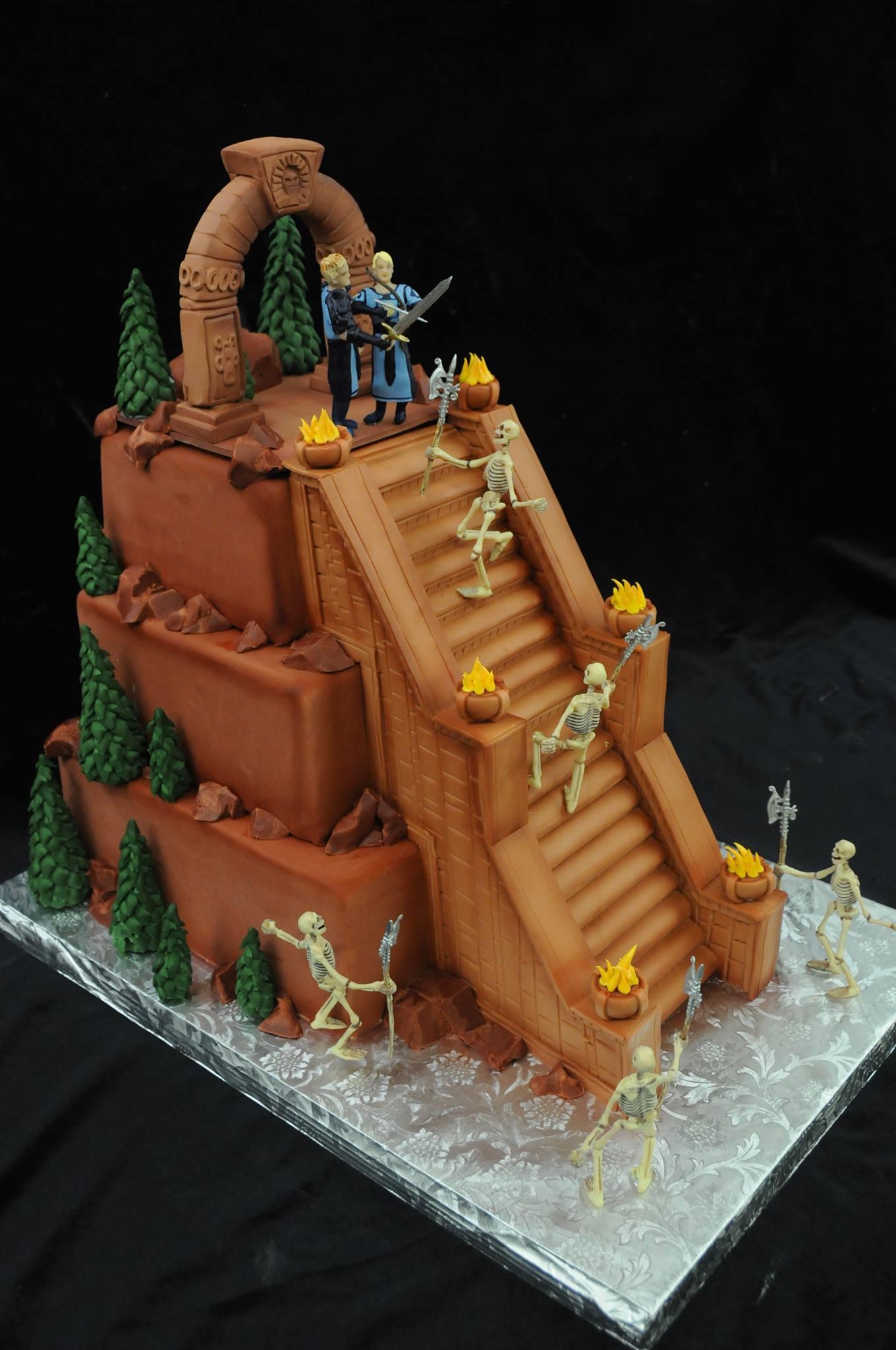 Skeleton Battle Wedding Cake