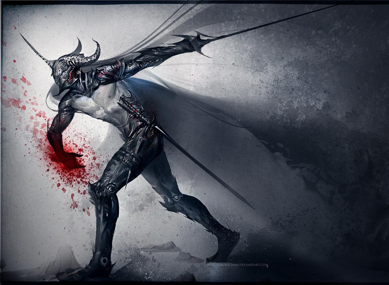 Fantasy dark knight concept art