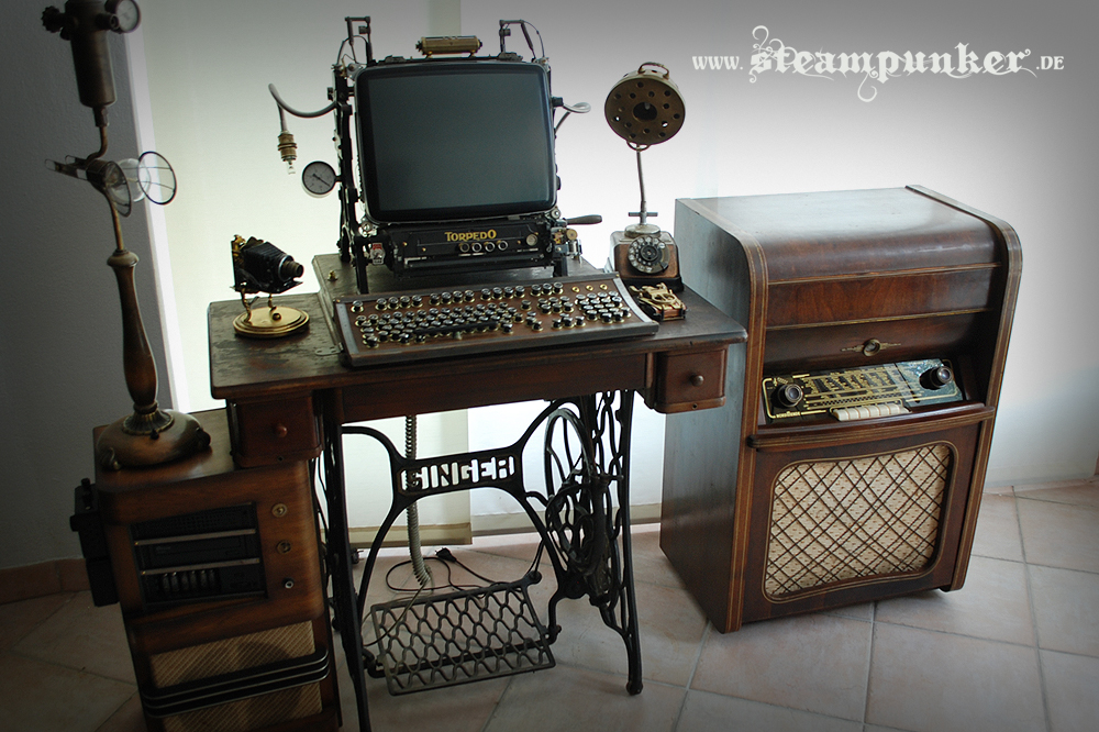 is this incredible computer desk. There's the steampunk computer