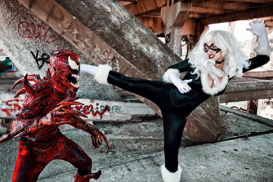 spooky carnage cosplay versus sexy black cat