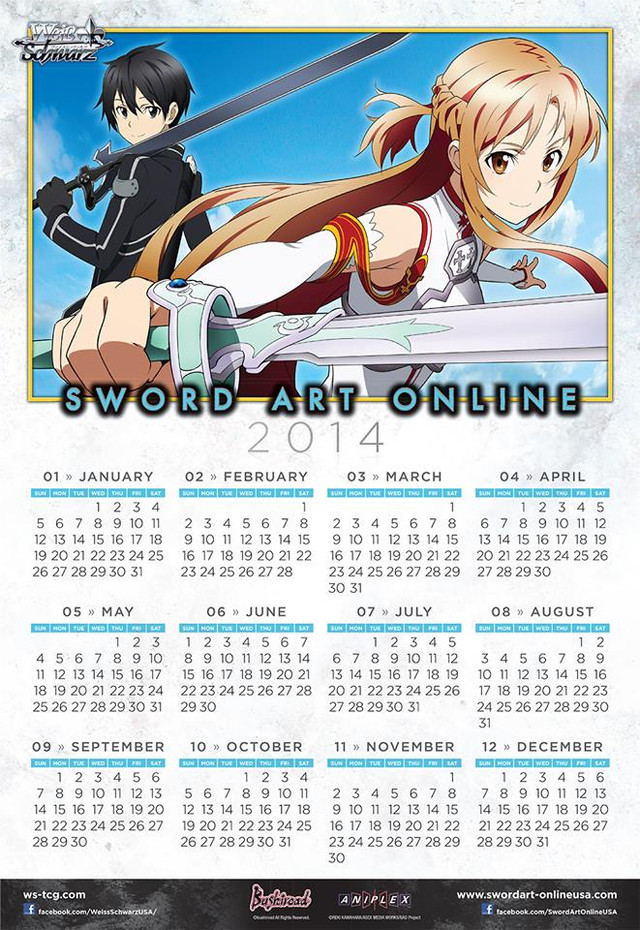 Calendar Sword Art : The sword art online tcg grows